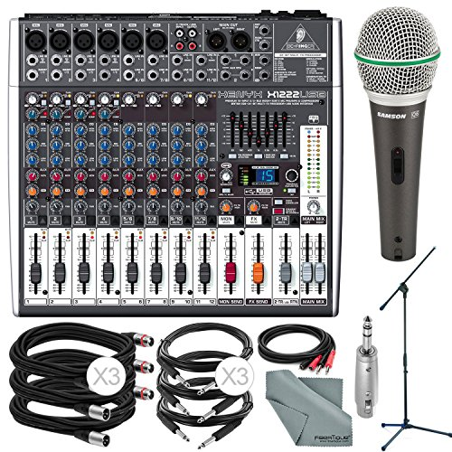 Photo Savings Behringer XENYX X1222USB 16-Input USB Audio Mixer with Effects and Deluxe Bundle w/Samson Q6 Mic & Stand + 7X Cables + More