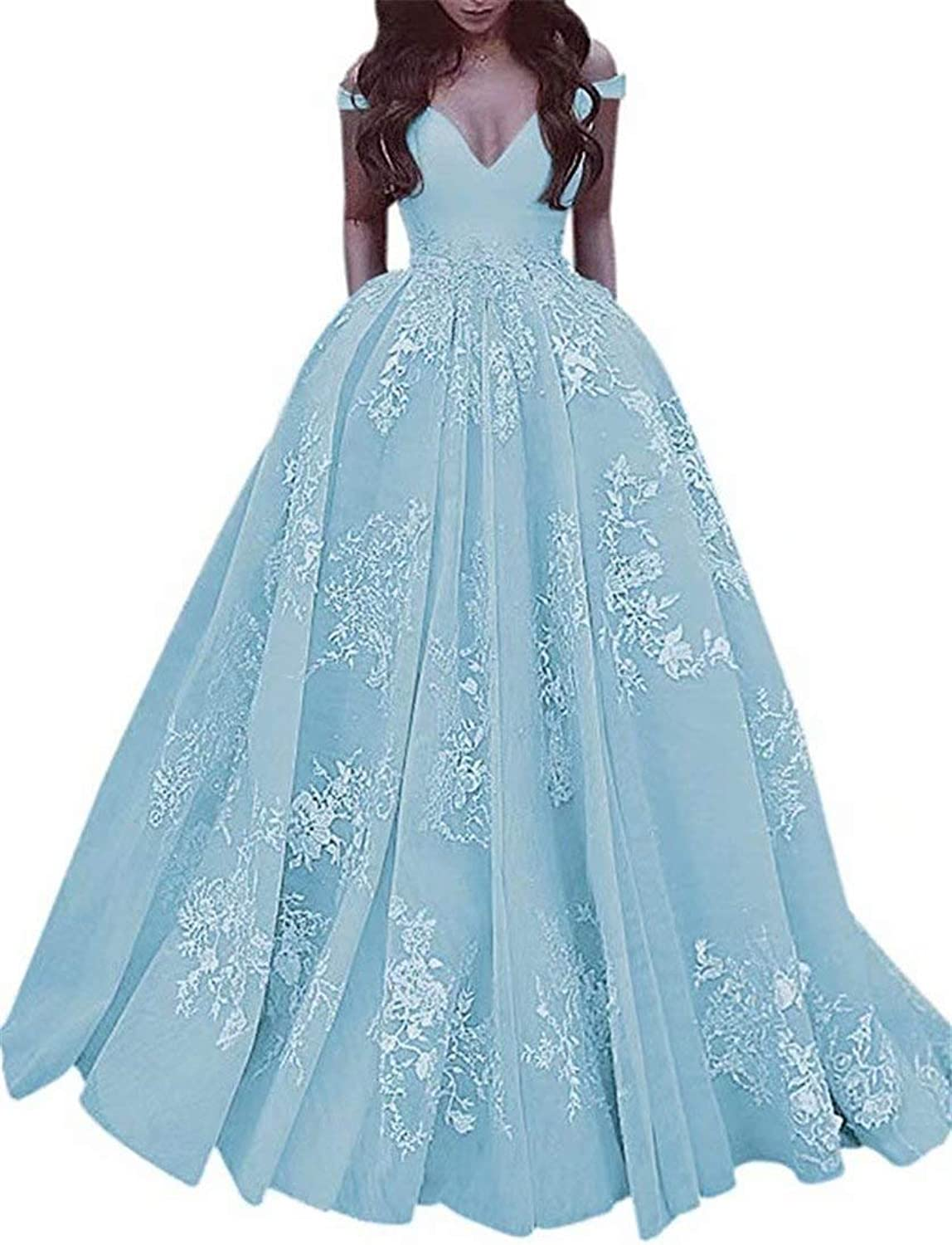 EEFZL Women's Beaded Lace Appliques Prom Dresses Tulle Evening Ball Gowns Quinceanera Dresses