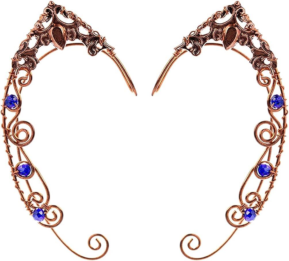 Holibanna Elf Ear Cuffs for Women Elf Fairy Earrings Cuff Wrap Clip on Filigree Earrings for Halloween Costume Cosplay Wedding Party Jewelry