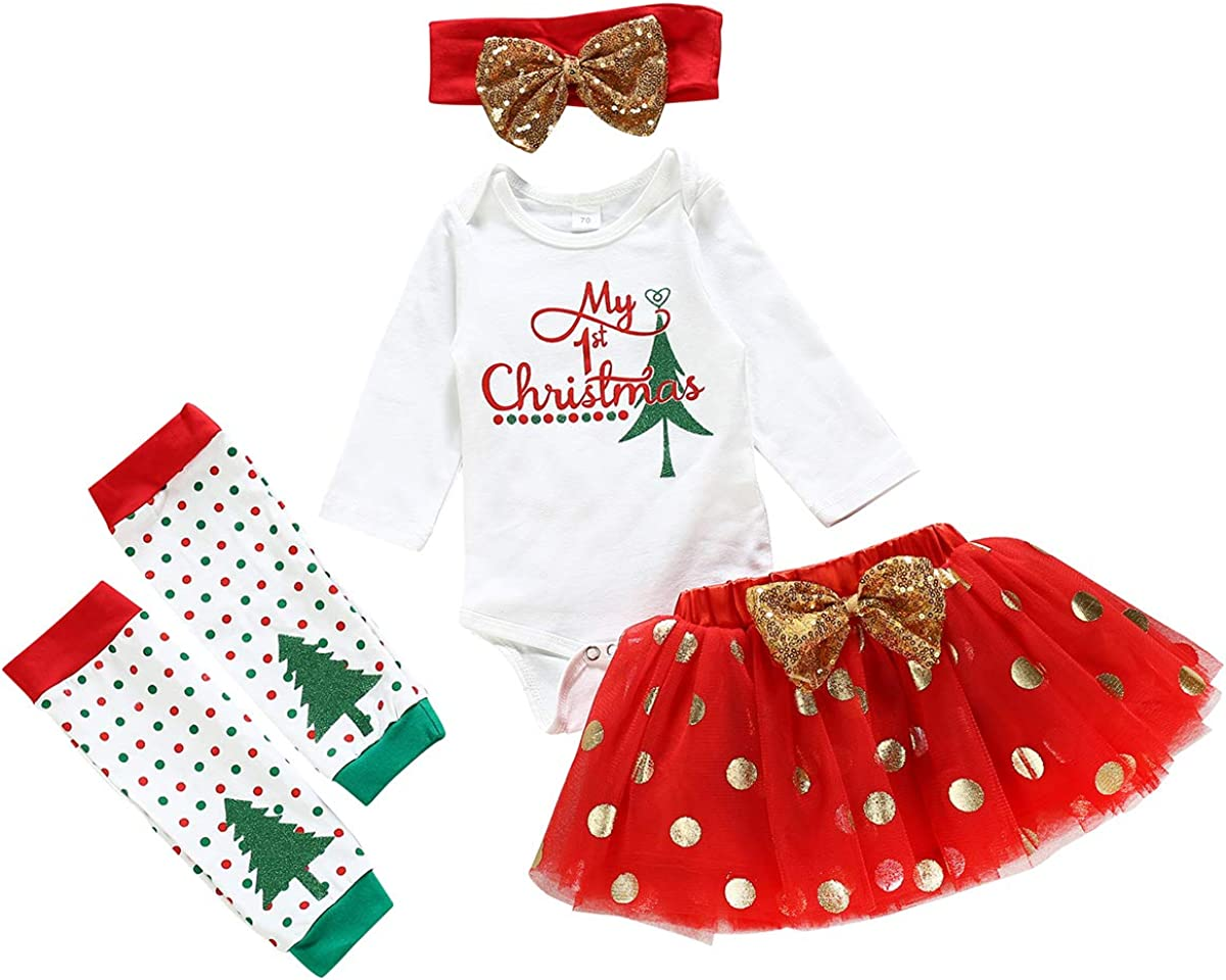 My 1st Christmas Newborn Baby Girl Outfits Long Sleeve Romper +