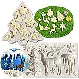 Moldes de Silicona para Hornear de Navidad LLMZ 2 pcs Pasteles Hornear Bandeja Molde Artículos Navideños Molde para Decoraciones de Navidad Chocolate Tortas Galletas