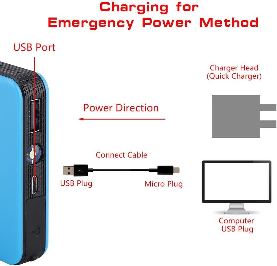 aqxreight blu Caricabatteria da auto portatile 12V per avviamento con batteria del motore Power Bank adatto per motore a benzina 3.0L