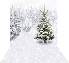 Allenjoy 6.5x10ft Christmas Xmas New Year Photography Photo Backdrop Background Snow Trees Holiday Party Decorations Winter Forest Snowflake Pine Snowy Photo Props Supplies