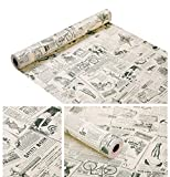 Papel pintado de vinilo de contacto vintage con periódicos, autoadhesivo, para cocina, baño, encimera, escritorio, decoración de pared (45x 300 cm, suave)