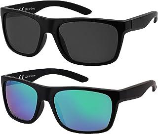 La Optica B.L.M. - La Optica Gafas de Sol LO8 UV400 Deportivas da Hombre y Mujer, Mate Negro (Lentes: 1 x Gris, 1 x Verde espejada)