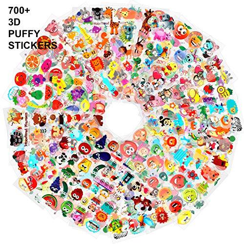 Howaf 3D Geschwollen Stickers für Kinder Kleinkinder 700+ Pcs Bunttiere Obst Gemüse Aufkleber für Kinder Mädchen Jungen Scrapbook Machen Belohnungen Geschenke, 48 Blatt Kunsthandwerk Aufkleber Pack