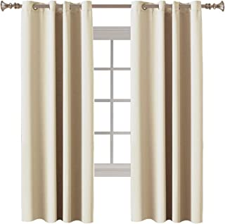 """Room Darkening Draperies Triple Weave Energy Saving Window Treatment Thermal Insulated Solid Grommet Blackout Curtains/Panels/Drapes for Bedroom, 52"""" Wide x 72"""" Long Each Panel, Beige, 2 Panels"""