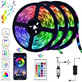 Piececool 39.42FT/12m, Bluetooth Controller APP with LED Sync to Music for TV, Bedroom, Kitchen Under Counter, Under Bed Lighting Strip Flexible (3×4M), Multicolor