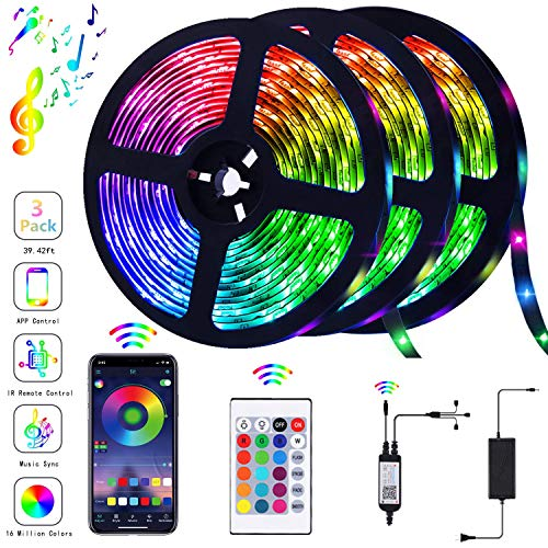 Piececool 39.42FT/12m LED Strip Lights with Blutooth and Remote Control, with Sync to Music for TV, Bedroom, Kitchen Under Counter, Under Bed Illumination (3 × 4M) Family Atmosphere Kit, Multicolor