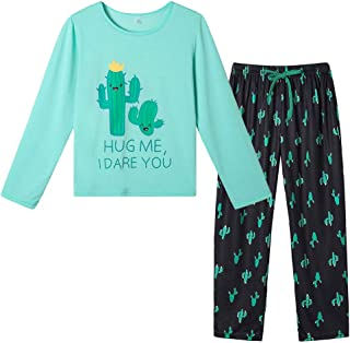 YIJIU - Conjunto de pijama para mujer con estampado de cactus, manga larga, pijama de invierno