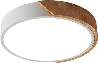 Schindora Plafonnier LED 24W Blanc Froid 6000K 2400LM, Plafonniers Led Modernes Ronds en Bois Intérieur Ø30cm pour Salon S...