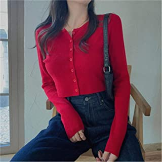 LJLLINGA Spring Autumn Women Fashion Thin Cardigans Sweaters Single Breasted Elastic Knitted Crop Tops Korean Solid Jumper