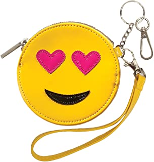 Girls' Heart Eyes Emoji Wristlet Clutch Coin and Key Purse in Faux Patent Leather