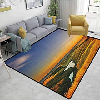 Large Area mat Italian Magical Photo of Mediterranean Rural in The Valley with a Small Lake Nature Bedroom Rug Blue Yellow Green