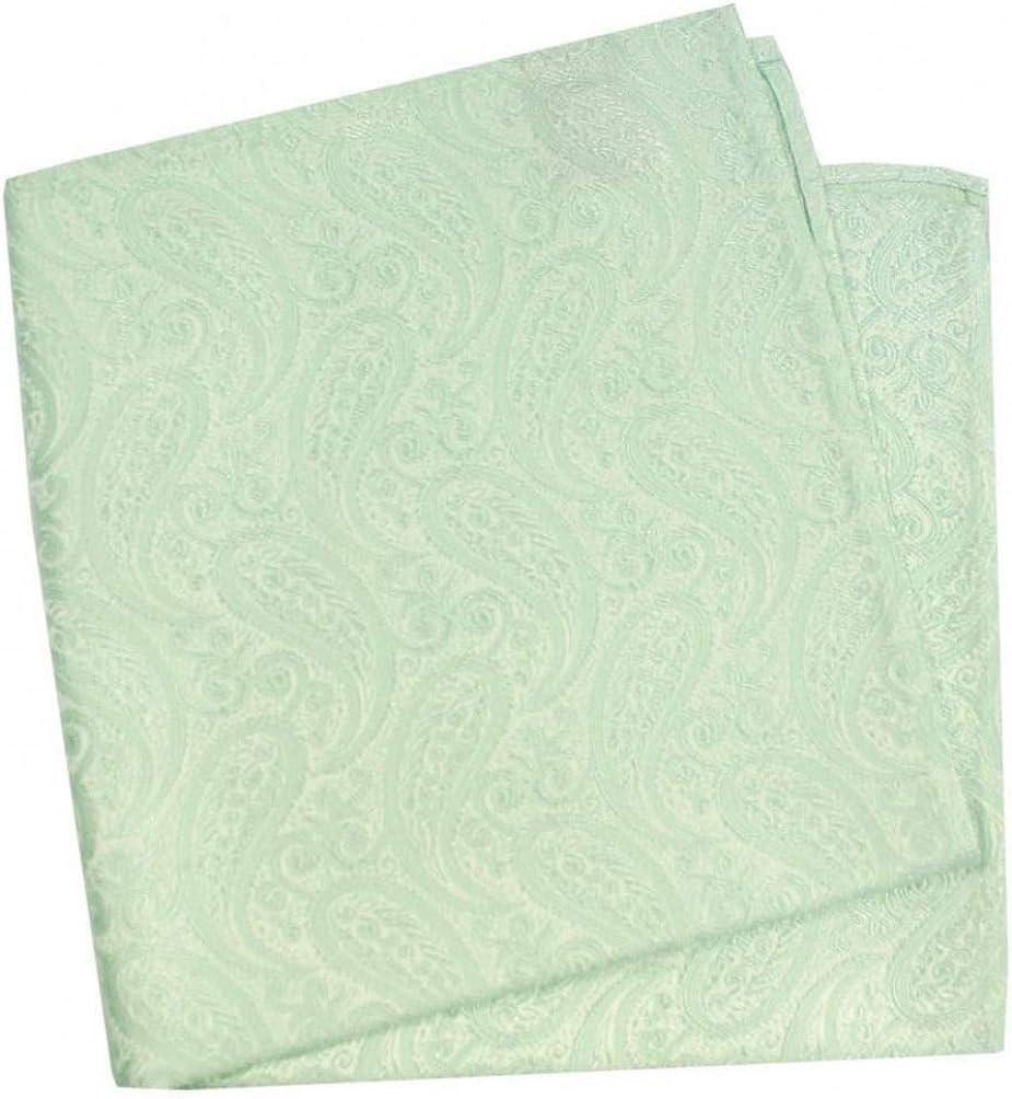 David Van Hagen Mens Tonal Paisley Silk Handkerchief - Mint Green