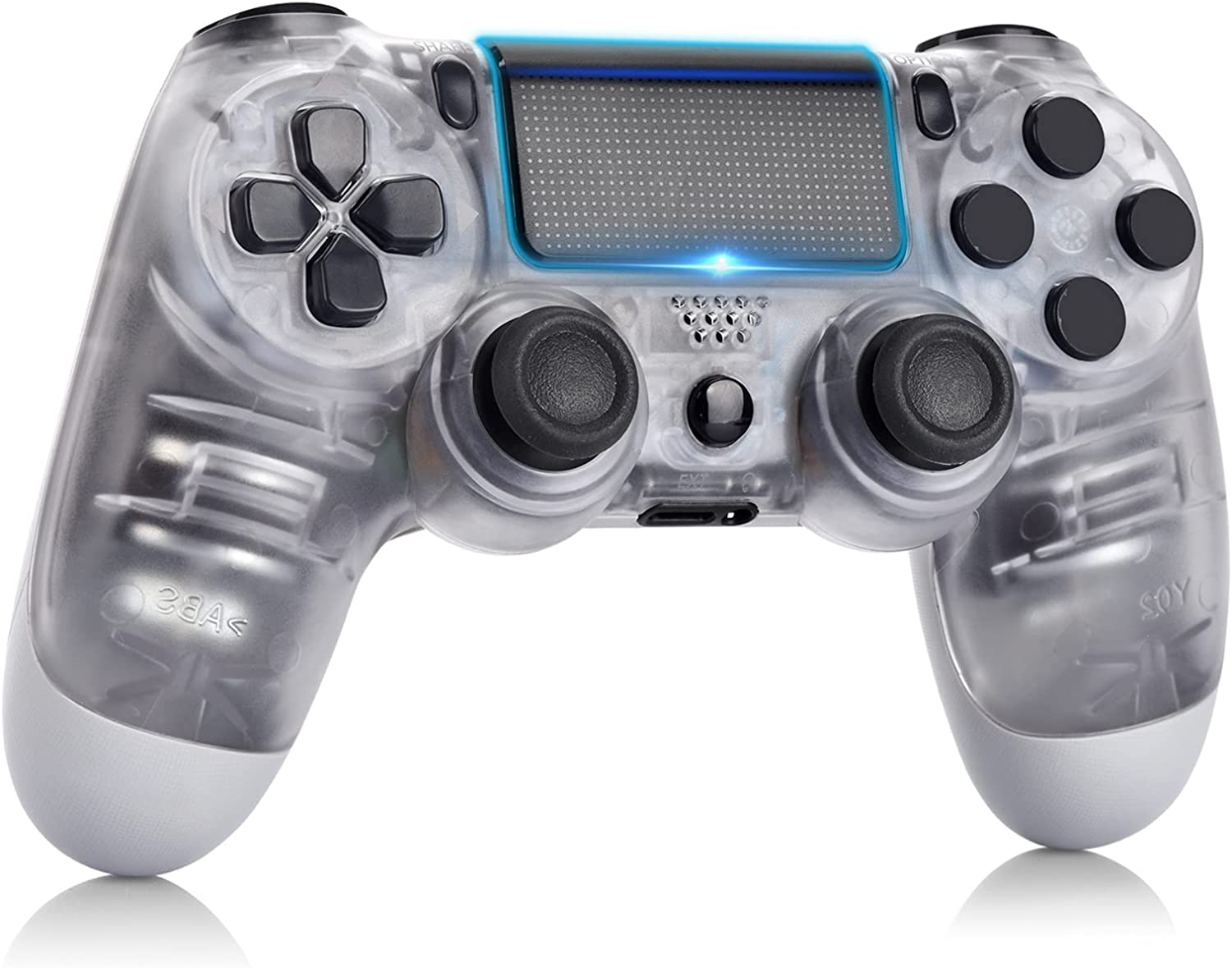 AUGEX Remote Compatible for P-4 Controller, Wireless Controller Work with P-4,with Dual Vibration/Stereo Headset Jack/Touch Pad Control,Compatible with P-4/Slim/Pro Console (Transparent White)