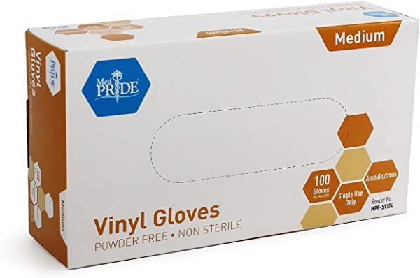 Medpride Vinyl Gloves Medium Box Of 100 4 3 Mil Thick Powder Free Non Sterile Heavy Duty Disposable Gloves Professional Grade For Healthcare Medical Food Handling And More