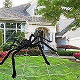 Tela de araña de Halloween (17 pies) con enorme araña de felpa negra (20 pulgadas), decoración de Halloween fantasma de patio interior y exterior (con 1 gancho y 5 clavijas de conexión a tierra)