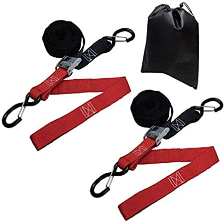 Amazon Basics Tiedown Set with Integrated Soft Loops, 2,110lb Break Strength, Black & Red, 2-Pack