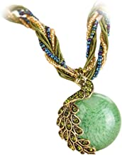 Bohemian Peacock Gem Pendant Healing Chakra Birthstone Necklace Tribal Dangle Collar Statement Jewelry for Womens