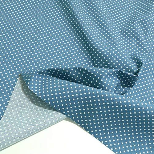 TOLKO Baumwollstoff aus Oeko-Tex Baumwolle | Bunt kräftige Farben | weiche Baumwoll-Popeline zum Nähen Dekorieren | Kleiderstoff Dekostoff Bezugsstoff Meterware 50cm (Jeans Blau Weiße Punkte)