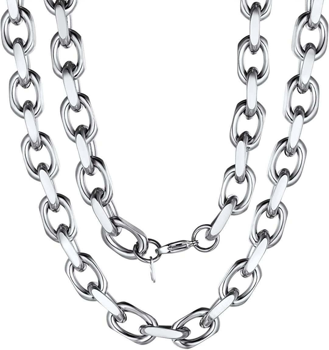 ChainsPro Heavy Duty Oval Rolo Cable Chain Necklace,6/8/11MM Width,18/20/22/24/26/28/30 Inches,316L Stainless Steel/18K Gold Tone (Send Gift Box)