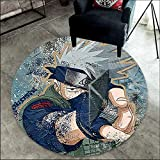 WSSW Alfombra Redonda Naruto Sala De Estar Dormitorio Alfombra De Terciopelo De Cristal/Anime/Dibujos Animados/Jardín De Infantes/Niños/Colchonetas De Yoga,120cm