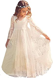 Flower Girl Dress Lace Dress for Wedding White Ivory Dress Long Sleeve 2-15T