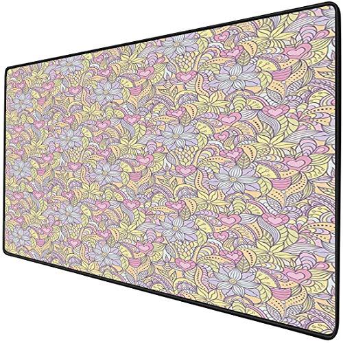 Mouse Pad Gaming Funcional Floral Alfombrilla de ratón gruesa impermeable para escritorio Flores abstractas en tonos suaves Figuras Pastel Belleza juvenil Corazones vivos Mariposas Decorativas,Multico