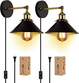Plug in Wall Sconces JACKYLED UL Wall Mounted Industrial Vintage Wall Lamp Fixture Simplicity Bronze Finish Swing Arm Wall Lights with Switch 2Pack(Edison Bulbs Included)
