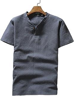 Blostirno メンズ リネン リネンシャツ 綿麻 半袖 無地 Tシャツ ヘンリーネック 夏