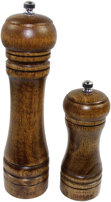 Dianoo Manual Kitchen Wooden Pepper Mill Salt Grinder Set Of 2pcs Long And Short