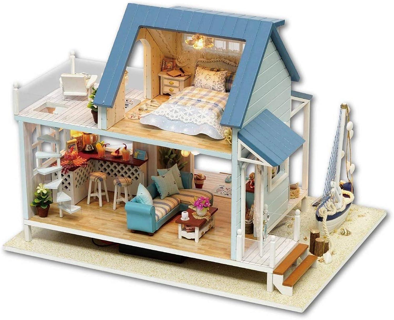 Puppenhaus mit 3D Puzzle Holz Miniatur Puppenhaus DIY Kit Licht Legende der Blau Sea Serie Puppenhuser Zubehr Puppenhuser mit Mbeln DIY Puppenhaus ( Farbe   Multi-colGoldt , Größe   302322CM )