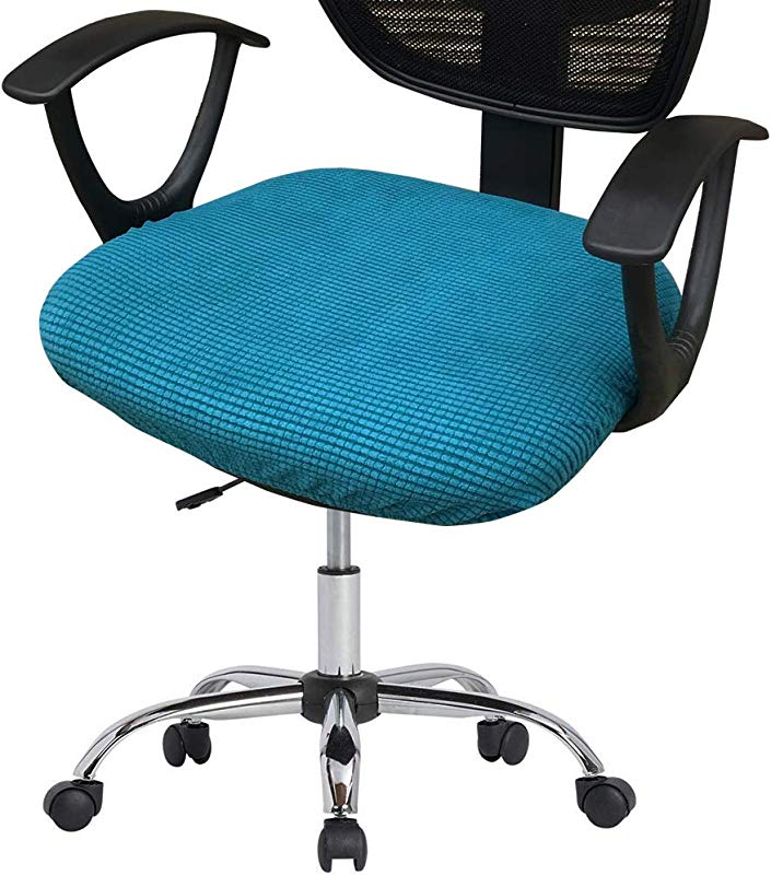 Deisy Dee Stretch Office Computer Chair Seat Covers Removable Washable Anti Dust Desk Chair Seat Cushion Protectors C173 Black Green