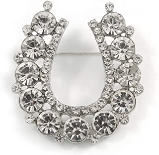 Clear Crystal Lucky Horseshoe Brooch in Silver Tone - 45mm Tall