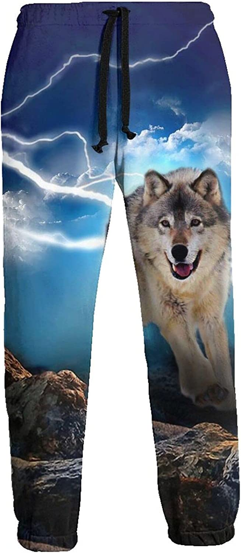 Mens Elastic Waist Sweatpants Wolf Rock Cloud Lightening Joggers Sweatpants for Gym Training Sport Pants