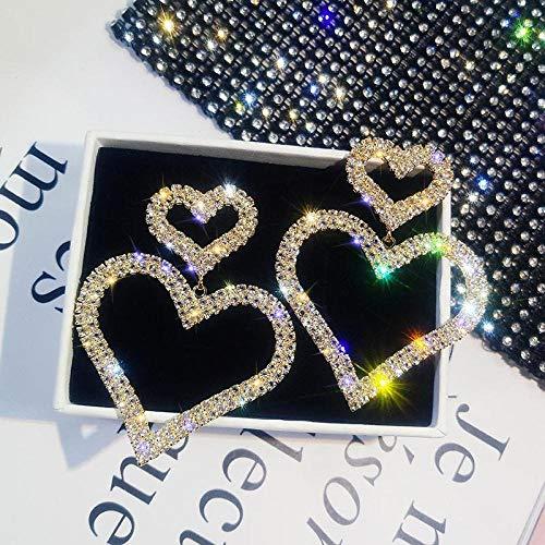 Arete Crystal Classic Heart Women Cuelga Los PendientesFashion Double Loving Earrings with Long Peach Heart Earrings Jewelry Gold