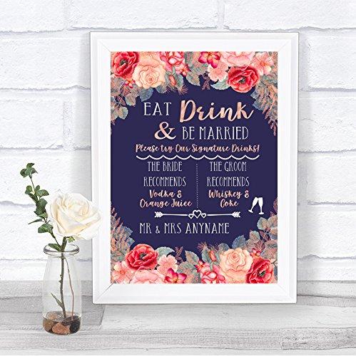 Navy Blue Blush Rose Gold Signature Favoriete Dranken Gepersonaliseerde Bruiloft Teken Print Framed White Medium Goud