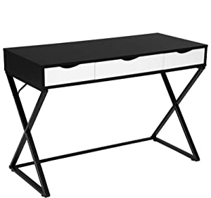Woltu #1305 Computer Desk Office Table PC Laptop Table Melamine with 3 Drawers Steel Frame 110 x 50 x 75 cm (W x D x H) Wood