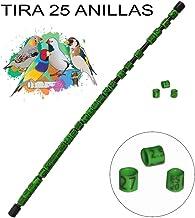 NestQ Anillas Agapornis 2020 Color Verde Federativo Policromo Grabado Laser Cerradas 4.5 Milimetros Numeradas con A/ño Marcado 1 Tira con 25 Anillas