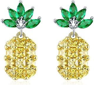 Qinlee Ananas Ohrstecker Zirkon Ohrringe Hawaii Stil Mode Ohrschmuck Hochzeiten Bankette Party Schmuck für Damen Mädchen (Gelb)