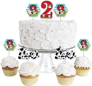 2nd Birthday Farm Animals - Dessert Cupcake Toppers - Barnyard Second Birthday Party Clear Treat Picks - Set of 24