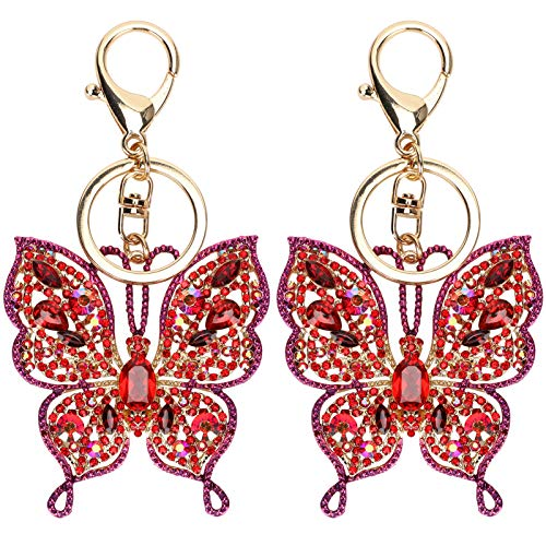 Swivel Snap Hook Metal Shiny Rhinestone Key Ring Butterfly Keychain Handbags Decor for DIY Crafts Jewelry Pendant Girls Gift Backpacks