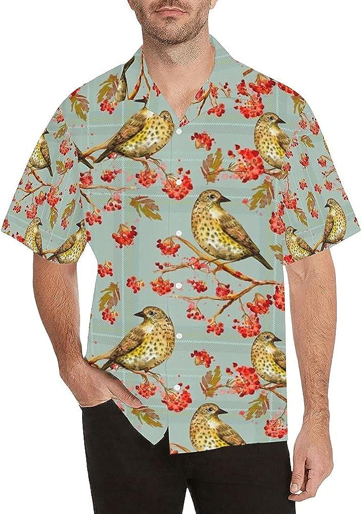 Branch Bird Men's High Ranking TOP19 quality new Short Sleeve Hawaiian Casual Shirt Down Button