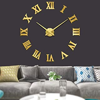 Large 3D DIY Wall Clock, Roman Numerals Clock, Frameless Mirror Surface Wall Sticker Home Decor, for Living Room, Bedroom,...