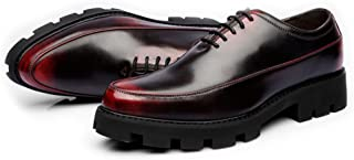 Men's Shoes-Men's Casual Shoes Matte PU Leather Prom Loafer Lace Up Breathable Lined Strong Outsole Oxfords Leisure (Color : Wine, Size : 42 EU)