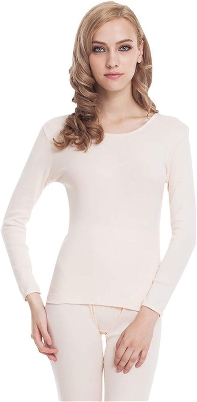 QWERBAM Cotton Winter Underwear Women Warm Thermal Underwear Set Thermal Female Seamless Breathable (Color : Beige, Size : XL.)