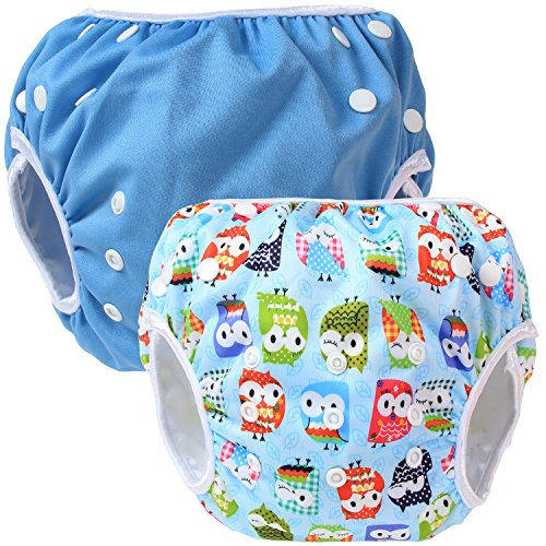 Teamoy 2-teilig Baby Schwimmhose Badewindelhose Badehose (Blue+ Owls Blue)