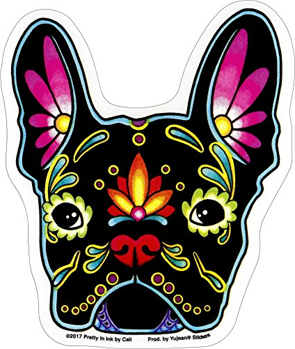 Cali French Bulldog, Sugar Skull Dog - 4.13' x 4.88' - Sticker DECAL