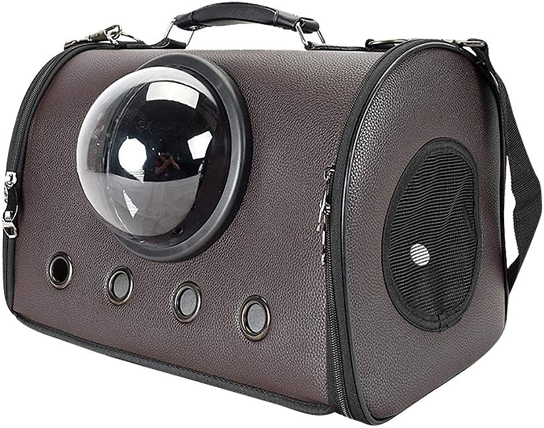 FELICIOO Pet Out Handbag PU Pet Bag (color   Brown, Size   44  26  31CM)